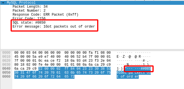3 wireshark mysql out of order